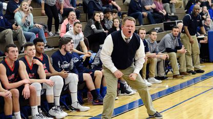 FSK coach Ryan Kimble reacts during the first half of the Eagles' game in Eldersburg Friday, Jan. 20, 2017.