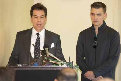 Jacob Wohl, right, and Jack Burkman speak to the media in 2018.