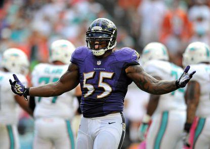Ravens linebacker Terrell Suggs sacks quarterback Ryan Tannehill in the fourth quarter.