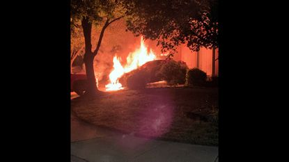 Anne Arundel County fire investigators are searching for leads after they say somebody intentionally scorched three cars and a garage in Laurel.