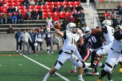 Towson quarterback Tom Flacco drops back to pass against Stony Brook on Nov. 9, 2019.