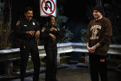 "SATURDAY NIGHT LIVE -- ""RuPaul"" Episode 1780 -- Pictured: (l-r) Host RuPaul and Ego Nwodim as Thirsty Cops and Pete Davidson during the ""Traffic Stop"" sketch on Saturday, February 8, 2020 -- (Photo by: Will Heath/NBC)"