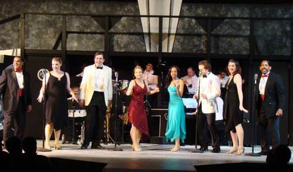 "From left, Aubrey Baden, Jenna Bouma, David Merrill, Katie Gardner, Janae Barber, Kelston Thomas, Cristina Shunk and Wendell Holland perform in ""Swing!"" at Annapolis Summer Garden Theater."