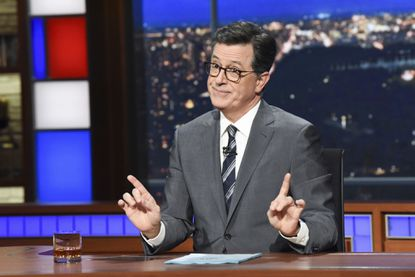 """A think tank that has studied the content of late-night comedy for the past 26 years says Trump was the butt of more jokes in 2017 than any other public figure has for a single year. By a lot. He continues to be a favorite topic for late night hosts, including Stephen Colbert, shown here in 2018 on the set of """"The Late Show with Stephen Colbert."""" (Scott Kowalchyk/CBS via AP)"""