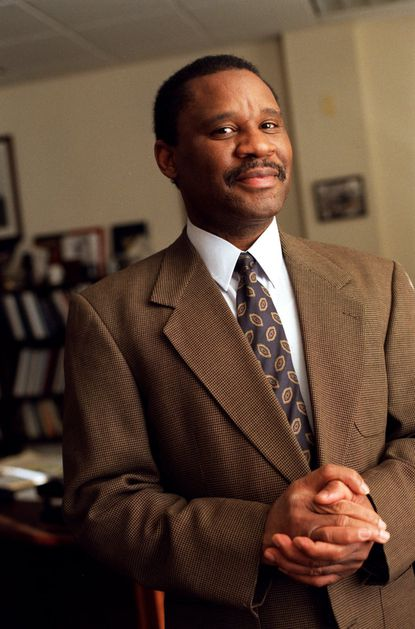 WASHINGTON, DC--Mar 8, 1999--Dr. Alvin Thornton, a professor at Howard University and Chairman of the Prince George's county school system is photographed in his office on the Howard campus. Photo by Dennis Drenner/special to the Sun (scanned 3/8/99)