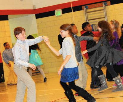 Jeffrey Bindon and Maggie Else were among the fifth-graders at Warren Elementary School in Cockeysville who had a chance to learn merengue, swing, tango and cha-cha during a weeklong dance program at the school.
