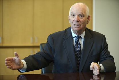 Maryland Senator Ben Cardin meets with the Baltimore Sun Opinion and Editorial board to announce his opposition to the Iran nuclear treaty backed by the White House.