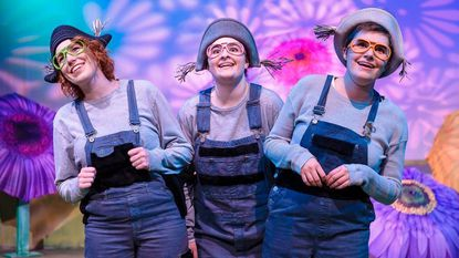 Left to right: Sarah Luckadoo, Lauren Alberg and Liliana Evans are the lemurs of Madagascar at Red Branch Theatre.