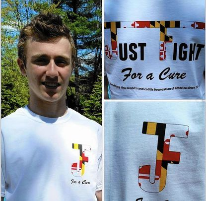 Jake Friedman is seen wearing one of the T-shirts he is selling to raise funds in the fight against Crohn's Disease.