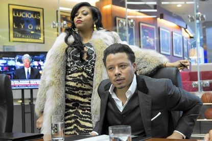 "EMPIRE: Cookie Lyon (Taraji P. Henson, L) visits Lucious Lyon (Terrence Howard, R) to claim her share of the company in the premiere episode of ""Empire."""