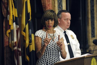 Baltimore Mayor Catherine Pugh and Police Commissioner Kevin Davis hold a news conference (file photo).