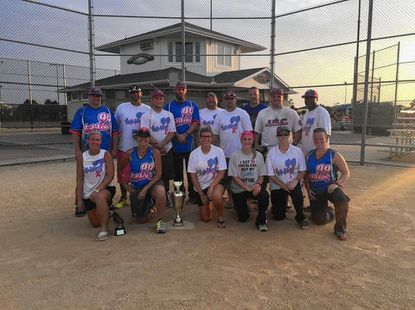 Pictured is 99 Problems co-ed softball team. Front Row, from left: Kelly Rogers, Heather Castle, Ali Zinnel, Caitlin Klobosits, Kelly Mabe, Sarah Melanie. Back Row: Trey Stokely, T.O., Matt Alder, Adam Miller, Jamie Alder, Jason Engles, Wade Smith, Dylan Shupe, Tony Brown.