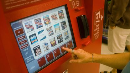 A self-service Redbox video rental kiosk in a Walgreen's drug store in New York.