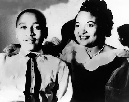 This undated family handout photograph taken in Chicago, shows Mamie Till Mobley, right, and her son Emmett Till, whose lynching in 1955 received national attention.