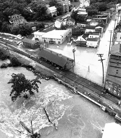 Aerial view of downtown historic Ellicott City the day after Tropical Storm Agnes hit the area in 1972.