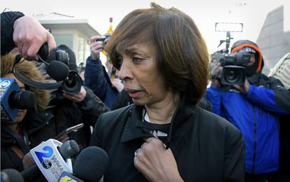 """Former Baltimore Mayor Catherine Pugh speaks with the media as she leaves the federal courthouse in downtown Baltimore after being sentenced to three years in prison, followed by three years probation as a result of her pleading guilty to conspiracy and tax evasion in her """"Healthy Holly"""" fraud scheme. February 27, 2020. (Kim Hairston/Baltimore Sun)."""