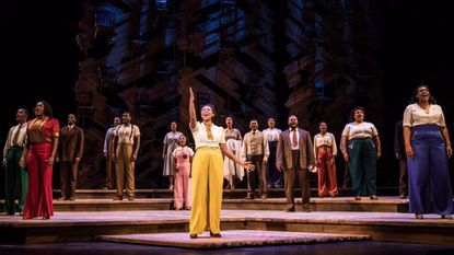 "Adrianna Hicks (Celie) and the tour cast of ""The Color Purple."""