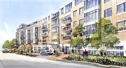 A rendering of a proposed $100 million planned development for Columbia Town Center called The Metropolitan Downtown Columbia, a luxury apartment and retail project..