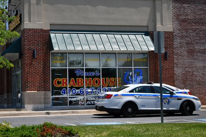 Vince's Crabhouse restaurant in Middle River, monitored by police cruisers after demonstrations here and at his Fallston location forced the five Vince's Crabhouse locations to close. The demonstrations were sparked by social media posts by owner Vince Meyer which the protesters deemed racist. June 9, 2020