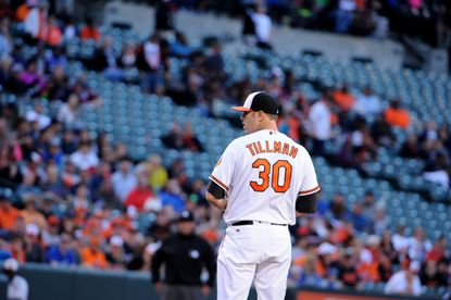 Orioles starter Chris Tillman prepares for a pitch against the Kansas City Royals on Wednesday, June 8, 2016.