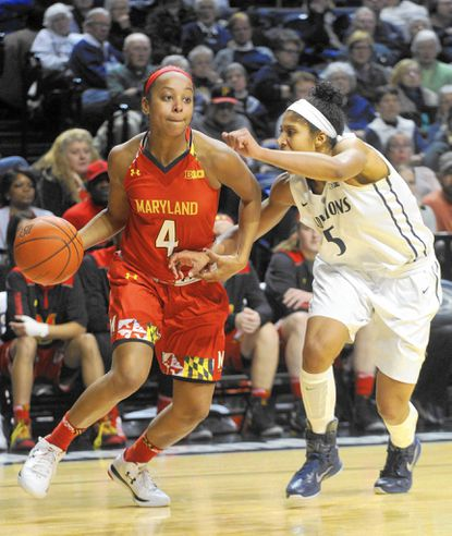 Maryland's Lexie Brown drives against Penn State's Sierra Moore during an NCAA college basketball game Thursday.