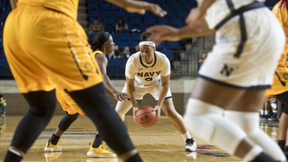 Navy's Jennifer Coleman against North Carolina A&T earlier this season. Coleman, a freshman, had 19 points, 13 rebounds and six assists in Thursday's 58-46 win over Loyola.