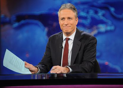 """Jon Stewart during a taping of """"The Daily Show with Jon Stewart"""" in New York."""