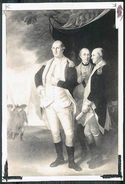 George Washington (left), the Marquis de Lafayette (center) and Tench Tilghman (right) at Yorktown painted by Maryland-born artist Charles Willson Peale. The portrait hangs in the State House in Annapolis. Tilghman of Maryland was the aide-de-camp of Washington and took the news of the British surrender to the Continental Congress in Philadelphia.