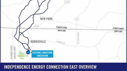 The map shows some of the potential routes under consideration in northwestern Harford County for a high voltage overhead power line, part of the proposed Independence Energy Connection enhancement to the regional grid.