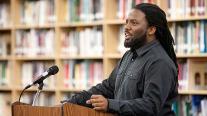 HoCoPoLitSo writer-in-residence Derrick Weston Brown speaks to students about poetry and inspiration.