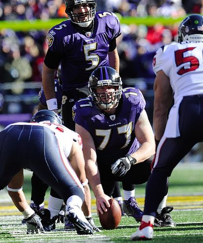 Baltimore Ravens center Matt Birk prepares to snap the ball during the Ravens' playoff win over the Houton Texans in Baltimore Jan. 15.