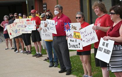 The Carroll County Education Association held a rally on Wednesday, June 9, 2021 outside the Carroll County Board of Education to highlight their demands for ongoing contract negotiations.