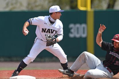 Freshman shortstop Eduardo Diaz, getting an out second base during a game against Lafayette earlier this season, has been rock-solid defensively this season, making just one error in 70 chances.