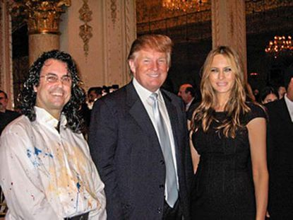 Speed painter Michael Israel, left, seen with Donald and Melania Trump in 2007 at Trump's Mar-a-Lago Club in Florida, where Trump spent $20,000 that belonged to his charity to buy a six-foot-tall portrait of himself painted by Israel.