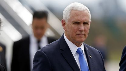 US Vice President Mike Pence arrives at the Catam Base, to attend a meeting of the Lima Group, in Bogota, Colombia, 25 February 2019. The Lima Group, a block of 14 largely Latin American countries, will address the crisis in Venezuela, during their assembly.