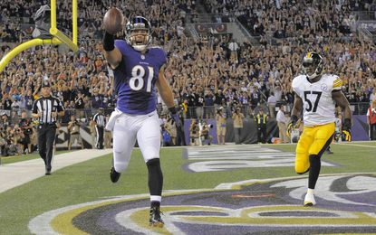 Owen Daniels celebrates a touchdown against the Pittsburgh Steelers in September.