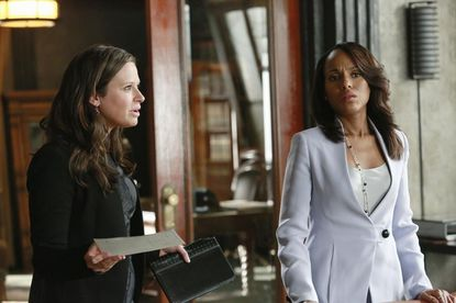 """Katie Lowes (left) and Kerry Washington on """"Scandal."""""""