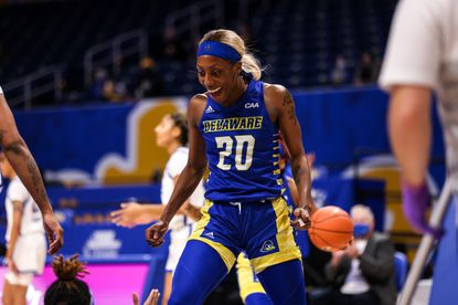 Catonsville High graduate Jasmine Dickey celebrates during Delaware's win over Pitt. Dickey is averaging 23.1 points a game. Dickey was named Colonial Athletic Conference Player of the Year.