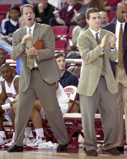 Jacksonville State assistant coach Tad Boyle, left, and head coach Mark Turgeon take on Georgia State.