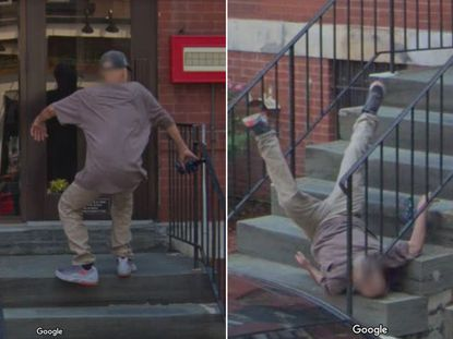 Google Maps captures exact moment man takes a tumble in ...