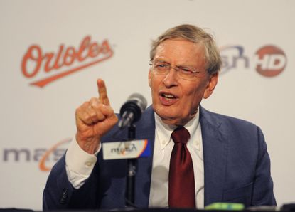 Baseball commissioner Bud Selig talks to reporters Tuesday at Camden Yards. Selig is in Baltimore for the quarterly owners meetings Wednesday and Thursday.