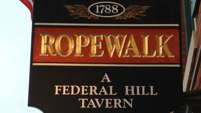 Shown is the exterior hanging sign of the Ropewalk Tavern on South Charles Street.