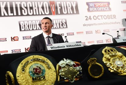World heavyweight champion Wladimir Klitschko speaks at a newsconference in London on Sept. 23 ahead of his bout with Tyson Fury in Germany on Oct. 24.