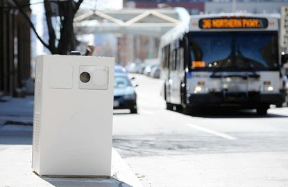 This is the new speed camera on Guilford Avenue near Federal Street, which is a few blocks south of North Avenue.