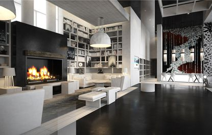 A rendering of the first floor lobby lounge of Anthem House, a mixed-use development located at the intersection of East Fort Avenue and Lawrence Street.