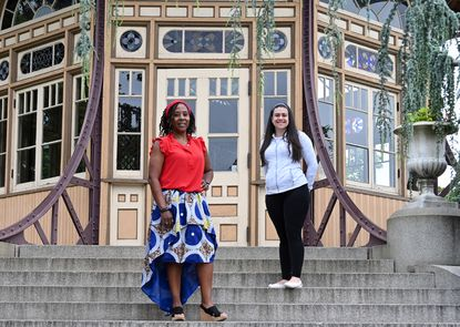 From left, Rozalyn Moore of Canton, and Megan Karanfil of the Patterson Park neighborhood, are organizing a Juneteenth picnic for the Canton, Patterson Park, Fells Point and Highlandtown neighborhoods on Friday beside the Pagoda in Patterson Park.