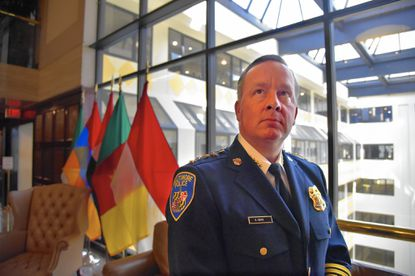 Baltimore Police Commissioner Kevin Davis is pictured at the National Press Club, the venue for the public launch of the Law Enforcement Leaders to Reduce Crime & Incarceration at the National Press Club.