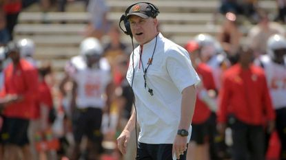 Maryland football coach DJ Durkin during the 2018 Red/White game.