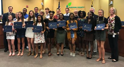 Members of individual and relay team state track titles were honored Monday by the Harford County Board of Education.