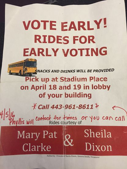 A flier distributed by Sheila Dixon's campaign offers rides to early voting locations.